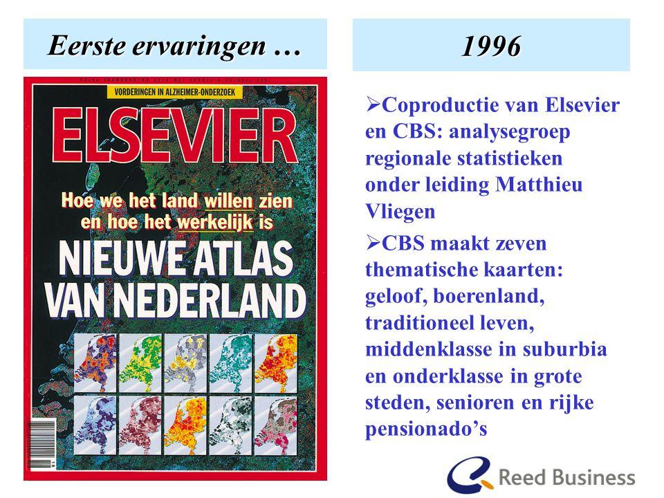 En hoe het begon Eerste ervaringen … 1996  Coproductie van Elsevier en CBS: analysegroep regionale statistieken onder leiding Matthieu Vliegen  CBS maakt zeven thematische kaarten: geloof, boerenland, traditioneel leven, middenklasse in suburbia en onderklasse in grote steden, senioren en rijke pensionado's
