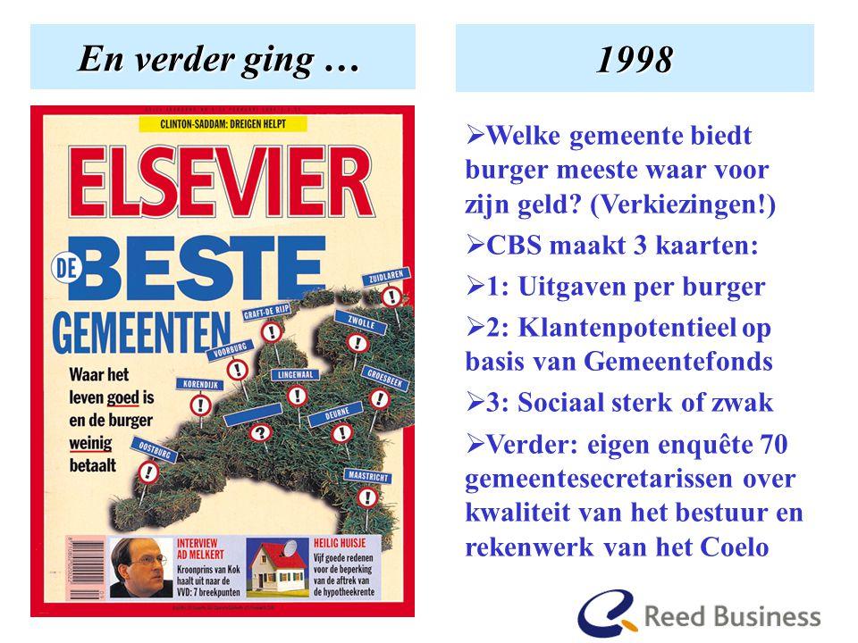 En hoe het begon En verder ging … 1998  Welke gemeente biedt burger meeste waar voor zijn geld.