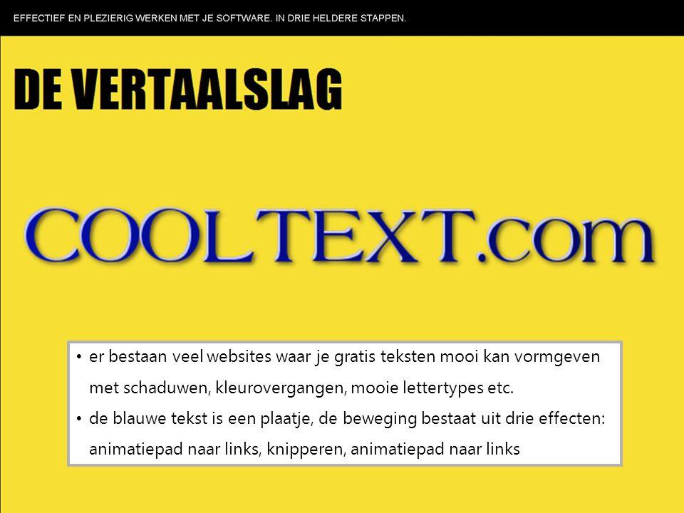 er bestaan veel websites waar je gratis teksten mooi kan vormgeven met schaduwen, kleurovergangen, mooie lettertypes etc. de blauwe tekst is een plaat