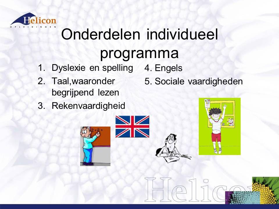 Onderdelen individueel programma 1.Dyslexie en spelling 2.Taal,waaronder begrijpend lezen 3.Rekenvaardigheid 4.