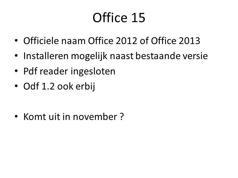 Office 15 Officiele naam Office 2012 of Office 2013 Installeren mogelijk naast bestaande versie Pdf reader ingesloten Odf 1.2 ook erbij Komt uit in november