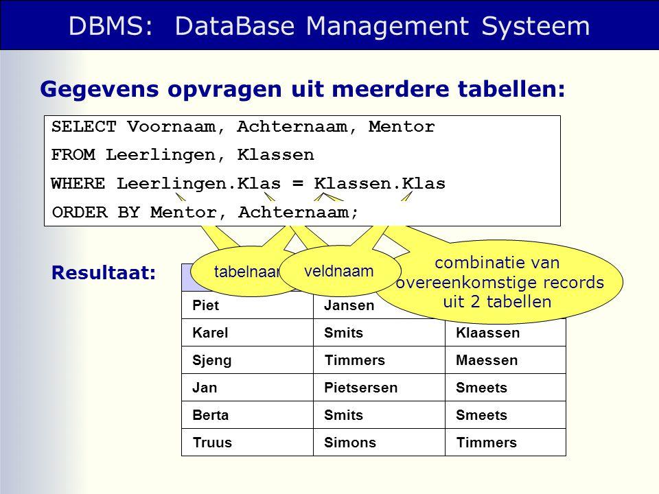 DBMS: DataBase Management Systeem SELECT Voornaam, Achternaam, Mentor FROM Leerlingen, Klassen WHERE Leerlingen.Klas = Klassen.Klas Gegevens opvragen