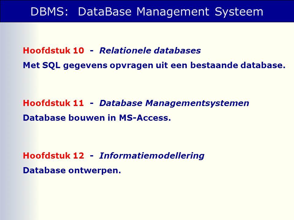 DBMS: DataBase Management Systeem Hoofdstuk 10 - Relationele databases Met SQL gegevens opvragen uit een bestaande database. Hoofdstuk 11 - Database M