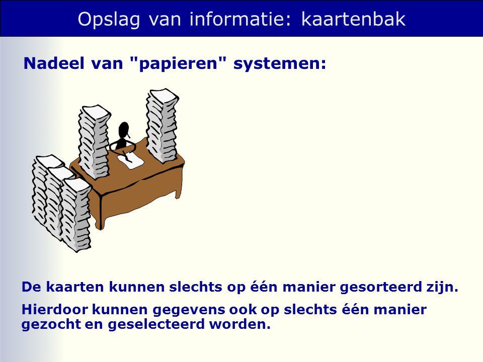 DBMS: DataBase Management Systeem geautomatiseerd systeem ter vervanging van de kaartenbak.