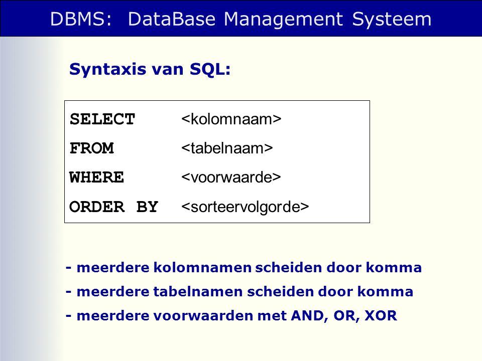 Database: één of meer tabellen.