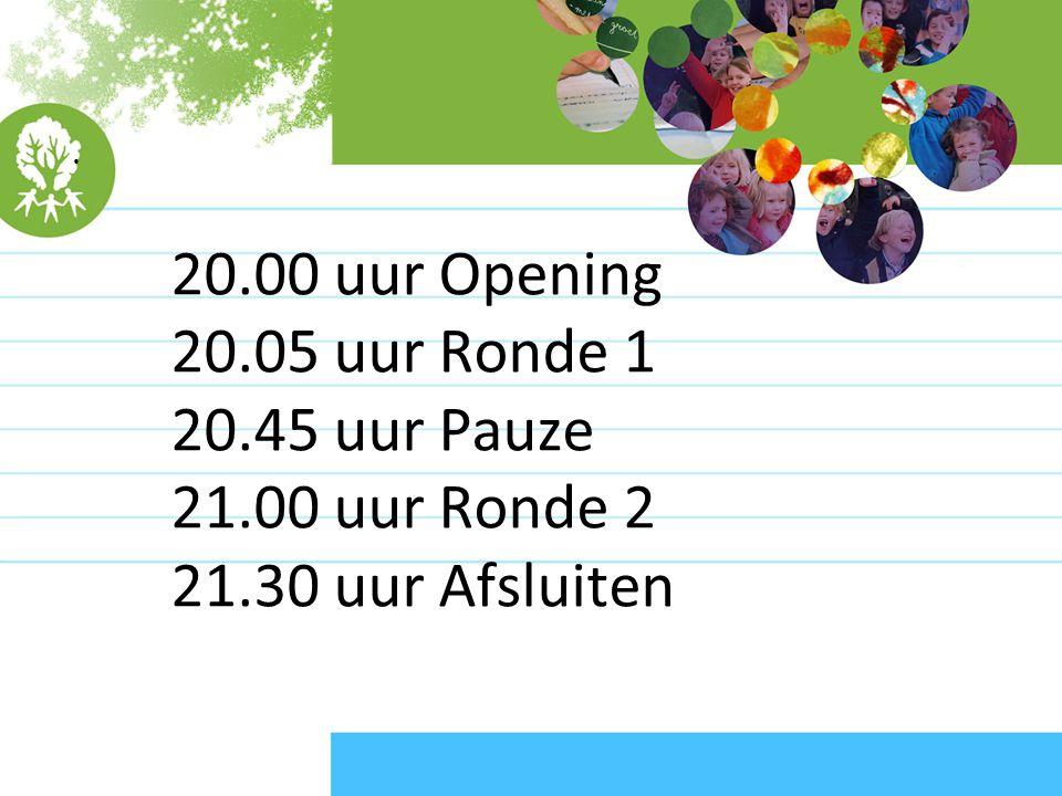 20.00 uur Opening 20.05 uur Ronde 1 20.45 uur Pauze 21.00 uur Ronde 2 21.30 uur Afsluiten