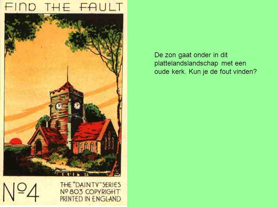 De zon gaat onder in dit plattelandslandschap met een oude kerk. Kun je de fout vinden