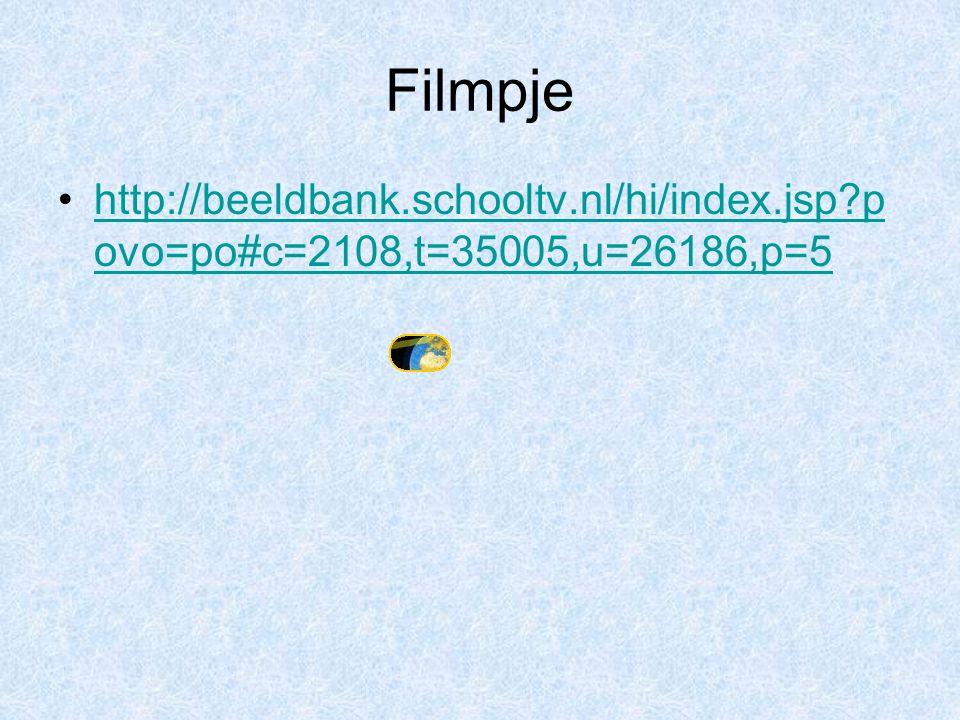 Filmpje http://beeldbank.schooltv.nl/hi/index.jsp?p ovo=po#c=2108,t=35005,u=26186,p=5http://beeldbank.schooltv.nl/hi/index.jsp?p ovo=po#c=2108,t=35005