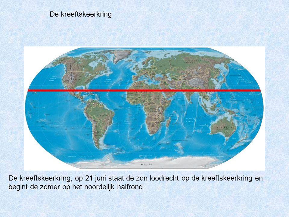 De kreeftskeerkring; op 21 juni staat de zon loodrecht op de kreeftskeerkring en begint de zomer op het noordelijk halfrond. De kreeftskeerkring