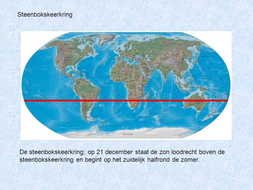 De steenbokskeerkring; op 21 december staat de zon loodrecht boven de steenbokskeerkring en begint op het zuidelijk halfrond de zomer. Steenbokskeerkr