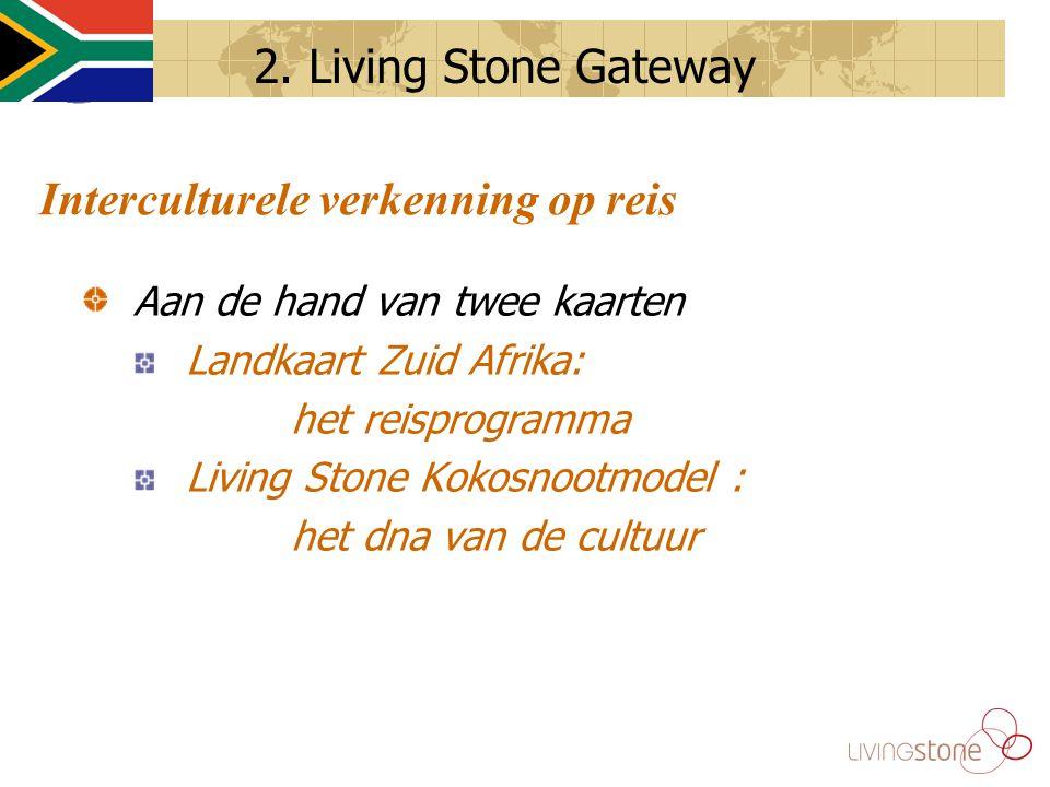 Interculturele verkenning op reis Aan de hand van twee kaarten Landkaart Zuid Afrika: het reisprogramma Living Stone Kokosnootmodel : het dna van de cultuur 2.