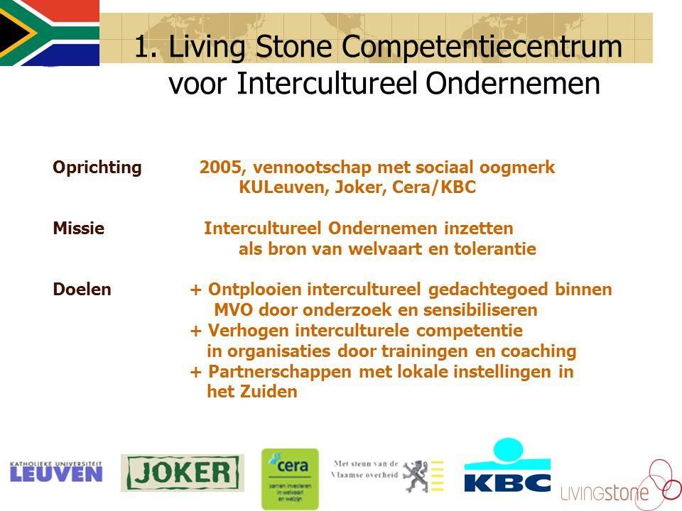 1. Living Stone Competentiecentrum voor Intercultureel Ondernemen Oprichting 2005, vennootschap met sociaal oogmerk KULeuven, Joker, Cera/KBC Missie I