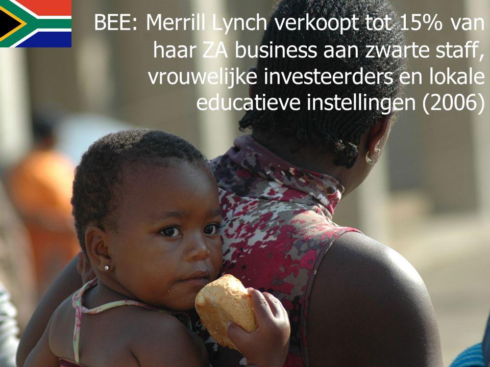 BEE: Merrill Lynch verkoopt tot 15% van haar ZA business aan zwarte staff, vrouwelijke investeerders en lokale educatieve instellingen (2006)