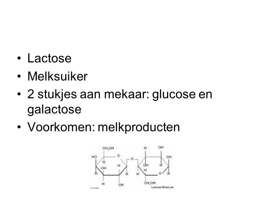 Lactose Melksuiker 2 stukjes aan mekaar: glucose en galactose Voorkomen: melkproducten