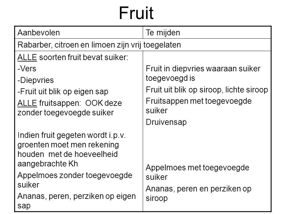 Fruit AanbevolenTe mijden Rabarber, citroen en limoen zijn vrij toegelaten ALLE soorten fruit bevat suiker: -Vers -Diepvries -Fruit uit blik op eigen
