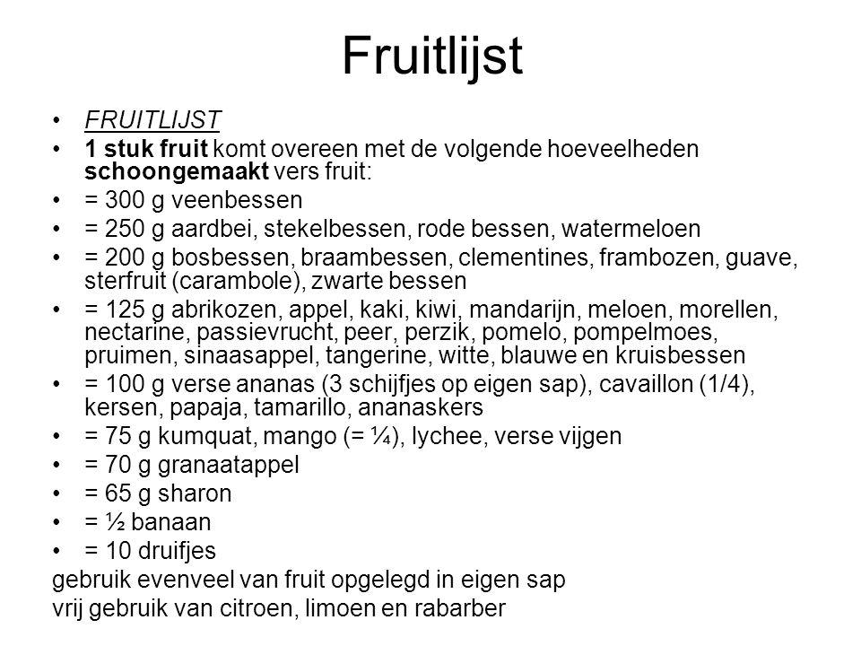 Fruitlijst FRUITLIJST 1 stuk fruit komt overeen met de volgende hoeveelheden schoongemaakt vers fruit: = 300 g veenbessen = 250 g aardbei, stekelbesse