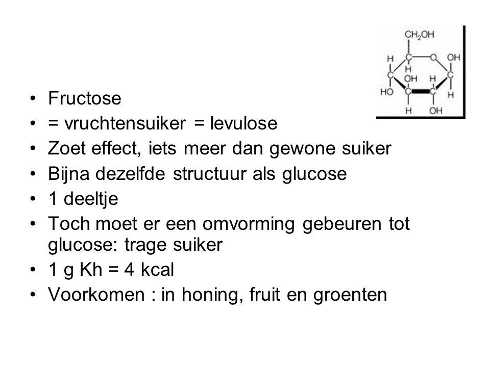 Fructose = vruchtensuiker = levulose Zoet effect, iets meer dan gewone suiker Bijna dezelfde structuur als glucose 1 deeltje Toch moet er een omvormin