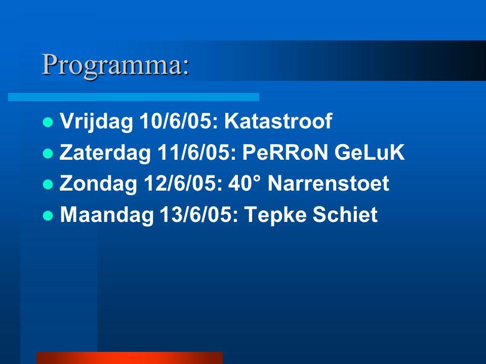 Programma: Vrijdag 10/6/05: Katastroof Zaterdag 11/6/05: PeRRoN GeLuK Zondag 12/6/05: 40° Narrenstoet Maandag 13/6/05: Tepke Schiet