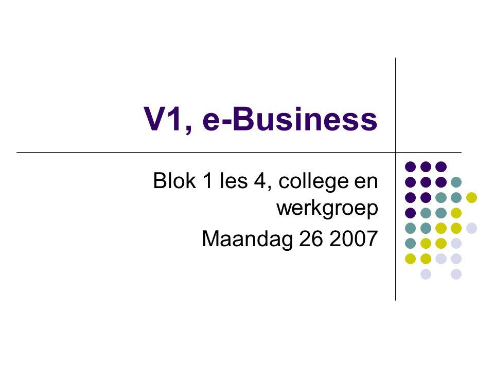 V1, e-Business Blok 1 les 4, college en werkgroep Maandag 26 2007