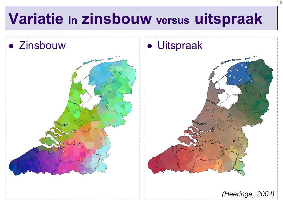 10 Variatie in zinsbouw versus uitspraak Zinsbouw Uitspraak (Heeringa, 2004)