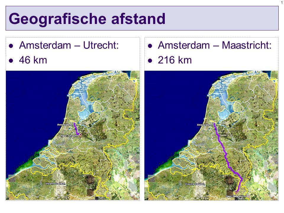 1 Geografische afstand Amsterdam – Utrecht: 46 km Amsterdam – Maastricht: 216 km