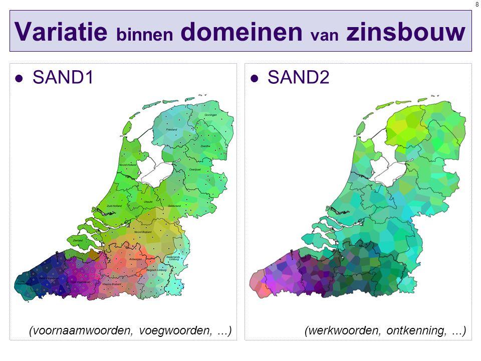 8 Variatie binnen domeinen van zinsbouw SAND1 SAND2 (werkwoorden, ontkenning,...)(voornaamwoorden, voegwoorden,...)