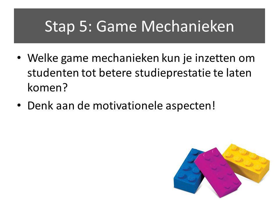 Welke game mechanieken kun je inzetten om studenten tot betere studieprestatie te laten komen.