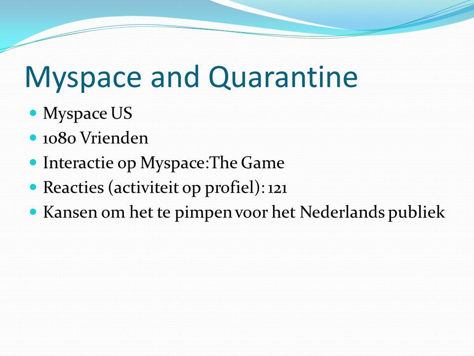 Myspace and Quarantine Myspace US 1080 Vrienden Interactie op Myspace:The Game Reacties (activiteit op profiel): 121 Kansen om het te pimpen voor het Nederlands publiek