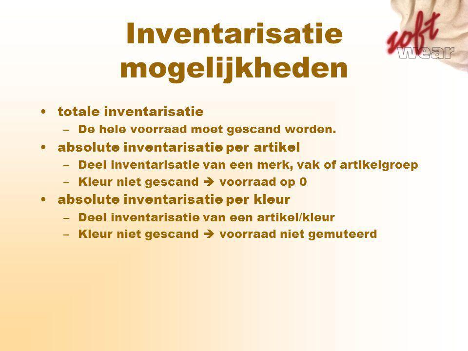 Inventarisatie mogelijkheden totale inventarisatie –De hele voorraad moet gescand worden.