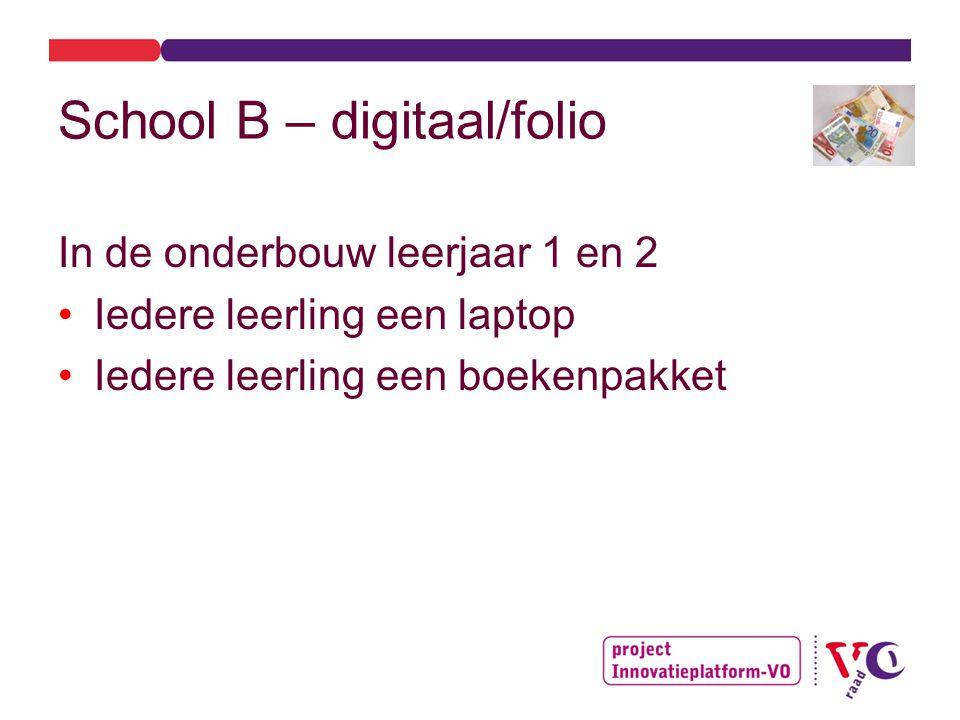 School B – digitaal/folio In de onderbouw leerjaar 1 en 2 Iedere leerling een laptop Iedere leerling een boekenpakket
