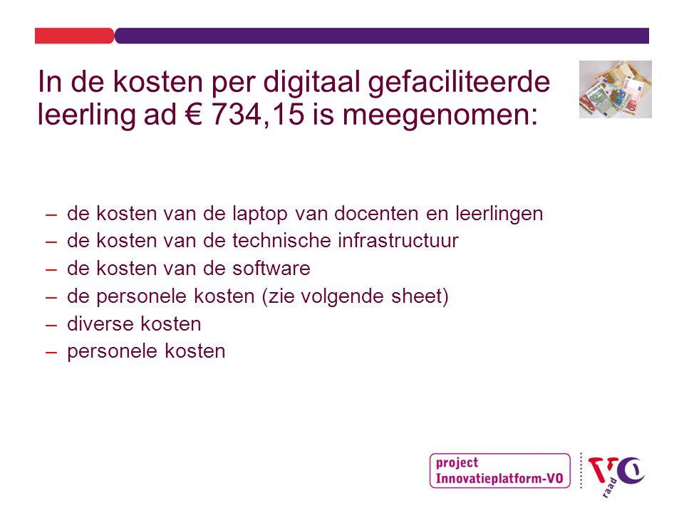 In de kosten per digitaal gefaciliteerde leerling ad € 734,15 is meegenomen: –de kosten van de laptop van docenten en leerlingen –de kosten van de technische infrastructuur –de kosten van de software –de personele kosten (zie volgende sheet) –diverse kosten –personele kosten