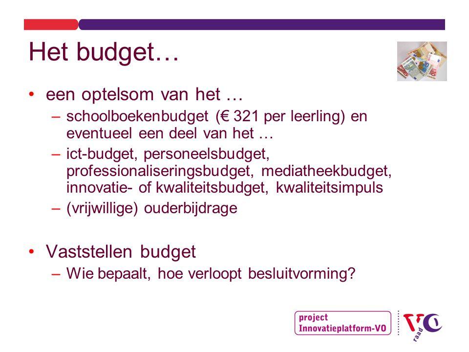 Het budget… een optelsom van het … –schoolboekenbudget (€ 321 per leerling) en eventueel een deel van het … –ict-budget, personeelsbudget, professionaliseringsbudget, mediatheekbudget, innovatie- of kwaliteitsbudget, kwaliteitsimpuls –(vrijwillige) ouderbijdrage Vaststellen budget –Wie bepaalt, hoe verloopt besluitvorming