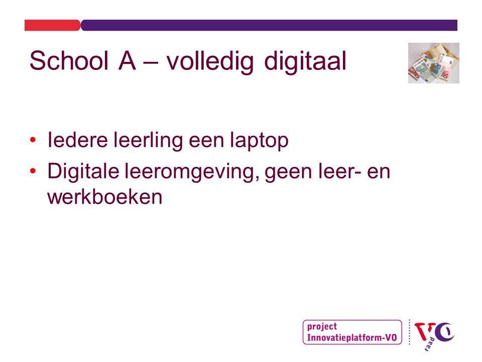 School A – volledig digitaal Iedere leerling een laptop Digitale leeromgeving, geen leer- en werkboeken