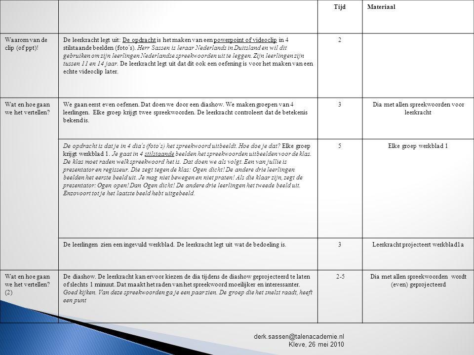 TijdMateriaal Waarom van de clip (of ppt).