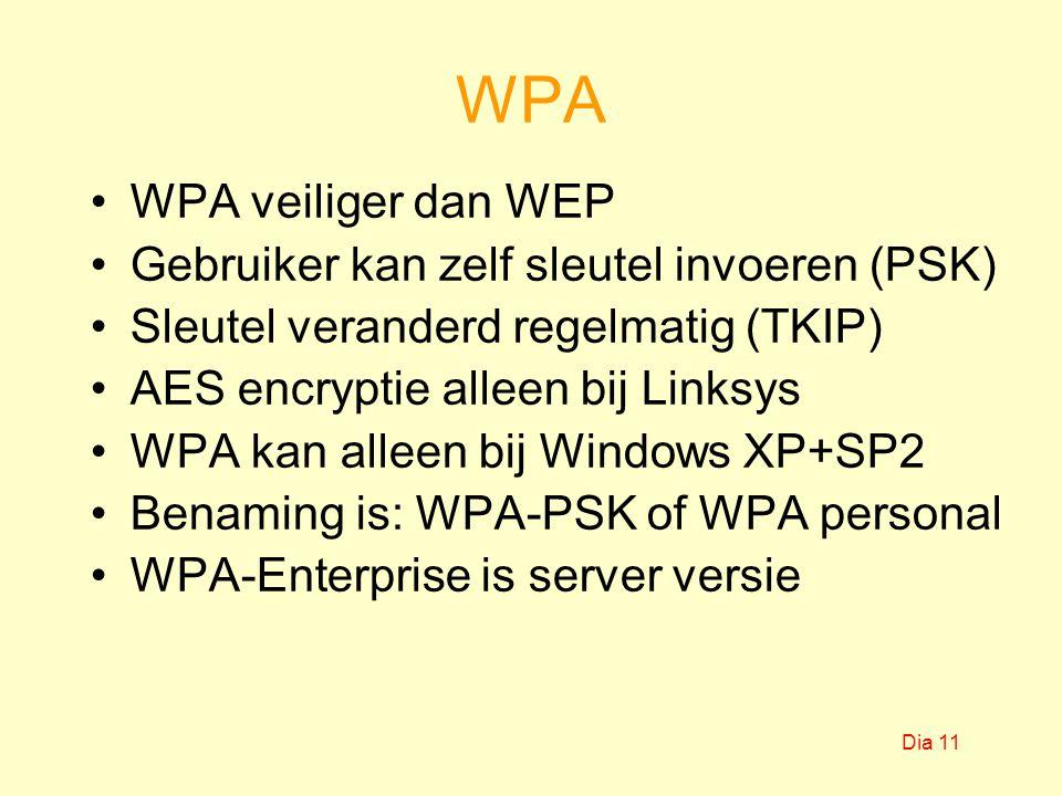 WPA WPA veiliger dan WEP Gebruiker kan zelf sleutel invoeren (PSK) Sleutel veranderd regelmatig (TKIP) AES encryptie alleen bij Linksys WPA kan alleen