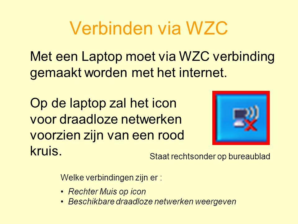 Verbinden via WZC Met een Laptop moet via WZC verbinding gemaakt worden met het internet.