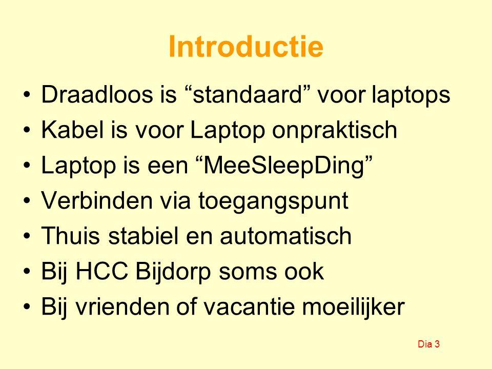 Introductie Draadloos is standaard voor laptops Kabel is voor Laptop onpraktisch Laptop is een MeeSleepDing Verbinden via toegangspunt Thuis stabiel en automatisch Bij HCC Bijdorp soms ook Bij vrienden of vacantie moeilijker Dia 3