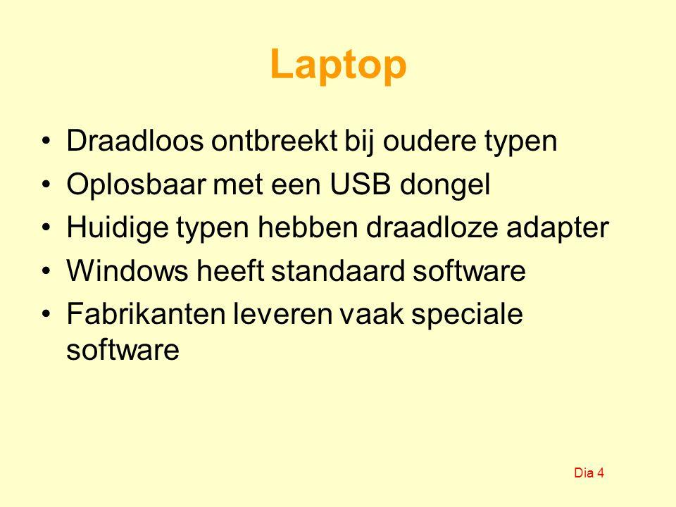 Laptop Draadloos ontbreekt bij oudere typen Oplosbaar met een USB dongel Huidige typen hebben draadloze adapter Windows heeft standaard software Fabrikanten leveren vaak speciale software Dia 4