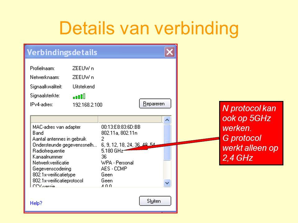 Details van verbinding N protocol kan ook op 5GHz werken. G protocol werkt alleen op 2,4 GHz
