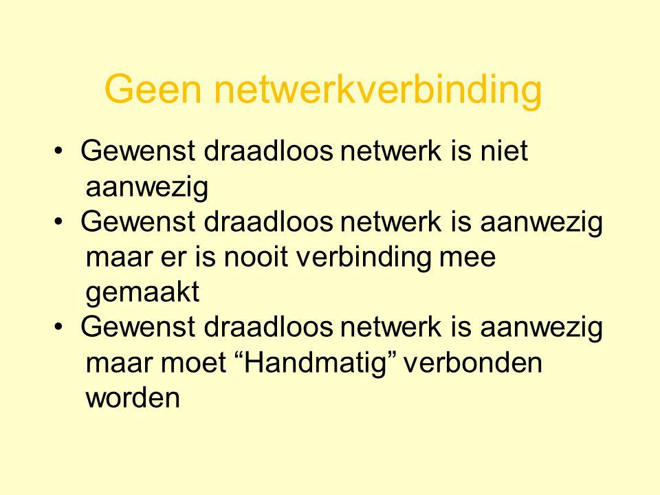 Geen netwerkverbinding Gewenst draadloos netwerk is niet aanwezig Gewenst draadloos netwerk is aanwezig maar er is nooit verbinding mee gemaakt Gewenst draadloos netwerk is aanwezig maar moet Handmatig verbonden worden