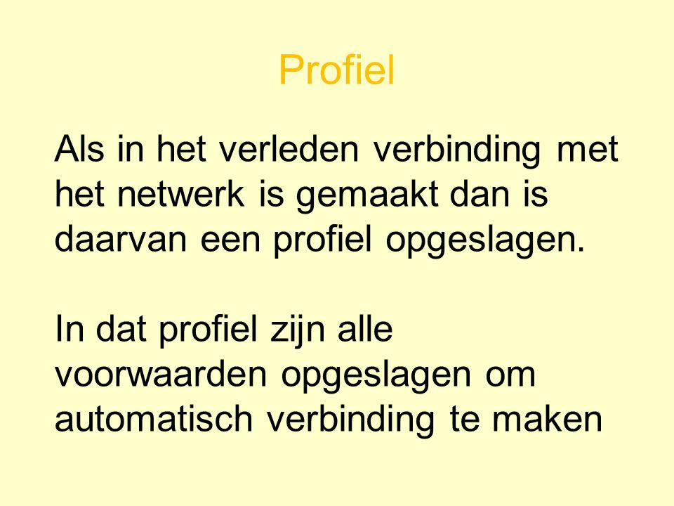 Profiel Als in het verleden verbinding met het netwerk is gemaakt dan is daarvan een profiel opgeslagen.