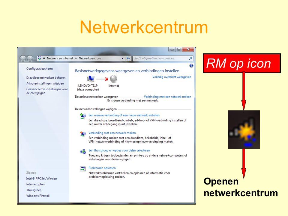 Netwerkcentrum RM op icon Openen netwerkcentrum