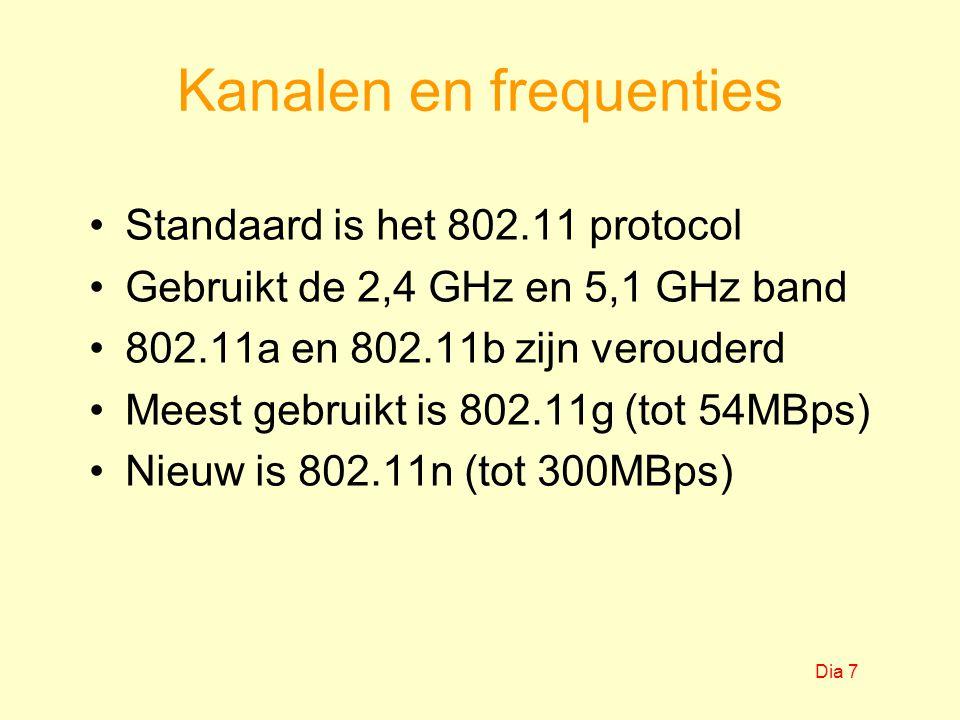 Kanalen en frequenties Standaard is het 802.11 protocol Gebruikt de 2,4 GHz en 5,1 GHz band 802.11a en 802.11b zijn verouderd Meest gebruikt is 802.11g (tot 54MBps) Nieuw is 802.11n (tot 300MBps) Dia 7