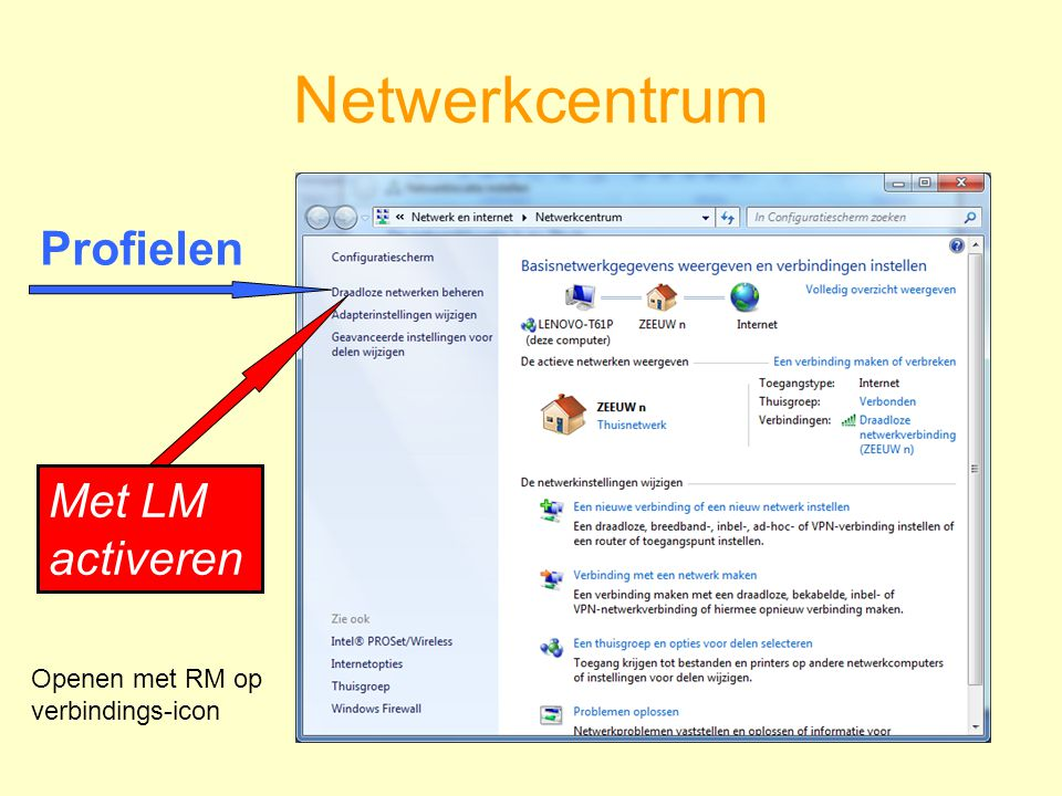 Netwerkcentrum Met LM activeren Profielen Openen met RM op verbindings-icon