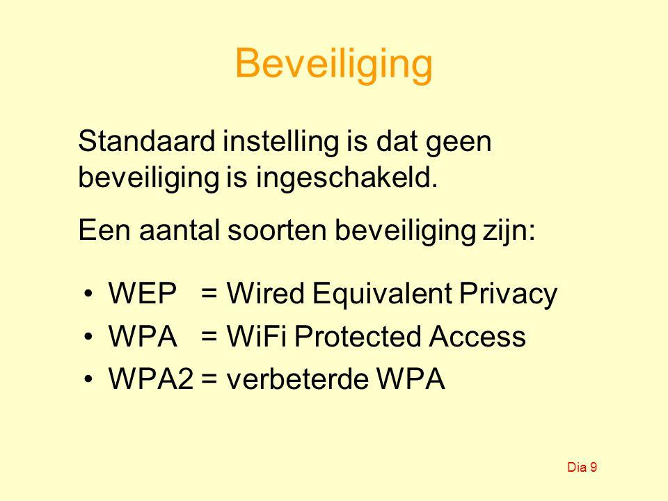 Beveiliging WEP = Wired Equivalent Privacy WPA = WiFi Protected Access WPA2 = verbeterde WPA Standaard instelling is dat geen beveiliging is ingeschak