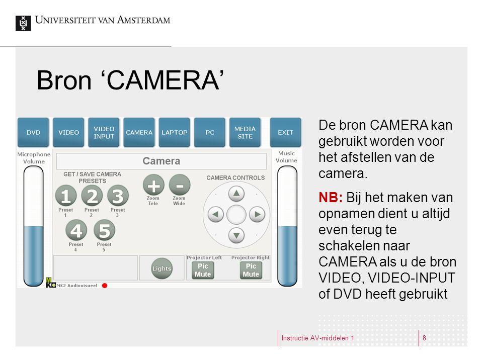 Instructie AV-middelen 18 Bron 'CAMERA' De bron CAMERA kan gebruikt worden voor het afstellen van de camera.