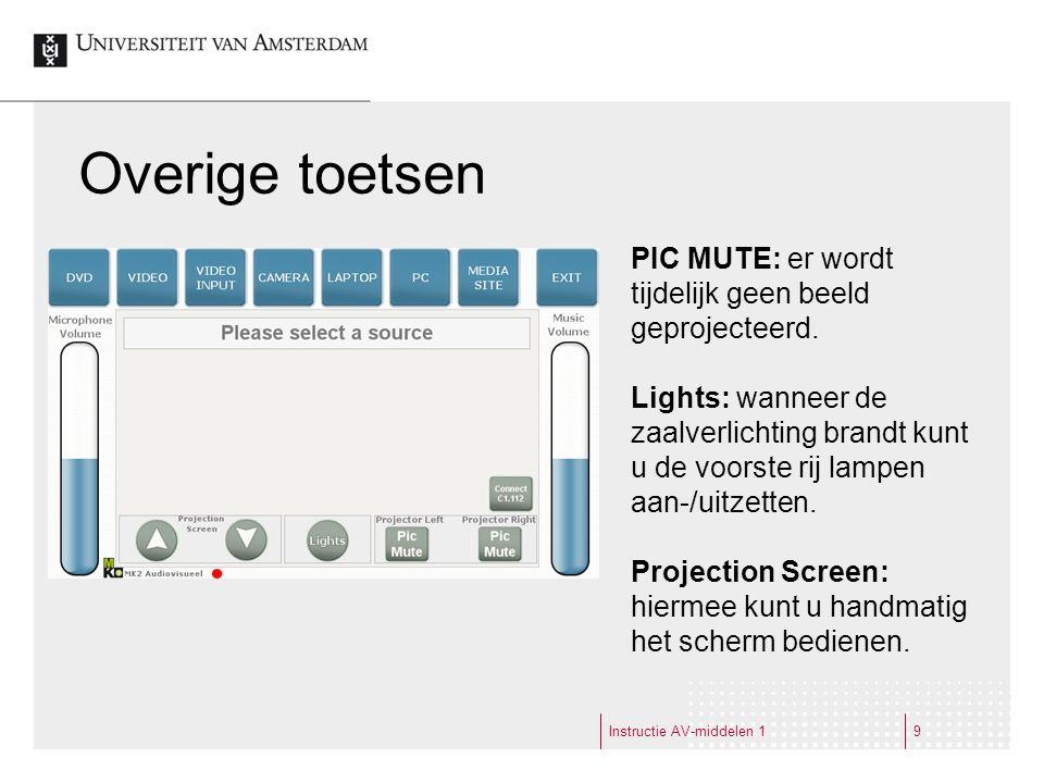 Instructie AV-middelen 19 Overige toetsen PIC MUTE: er wordt tijdelijk geen beeld geprojecteerd.