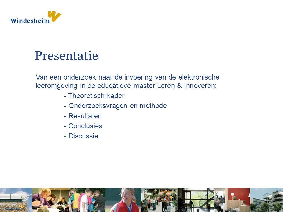 Presentatie Van een onderzoek naar de invoering van de elektronische leeromgeving in de educatieve master Leren & Innoveren: - Theoretisch kader - Onderzoeksvragen en methode - Resultaten - Conclusies - Discussie