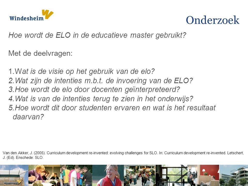 Onderzoek Hoe wordt de ELO in de educatieve master gebruikt.