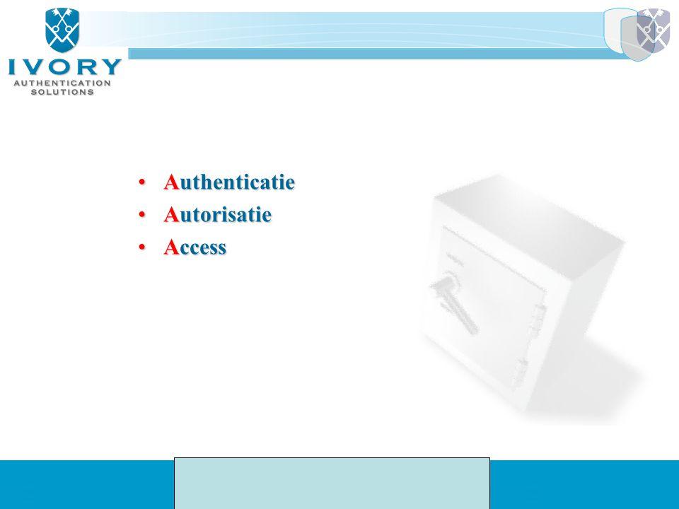 AuthenticatieAuthenticatie AutorisatieAutorisatie AccessAccess